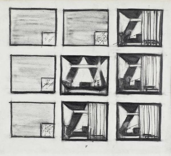 "Robert Wilson, ""Einstein on the Beach"" 1976 storyboard drawings, graphite on paper, 9 3/4 x 9, leaf 7 of 13"