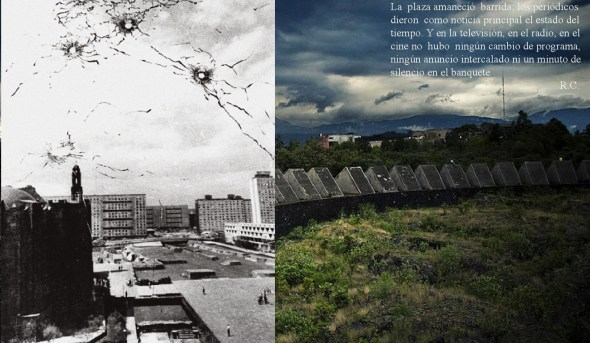 Left: Plaza de las Tres Culturas October 2nd, 1968 - Right: Sculpturic Space in the National University