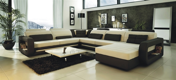 Ultra Modern Cream And Black Leather Sectional Sofa CP