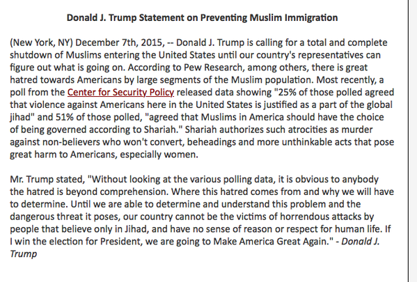 donald trump muslim statement