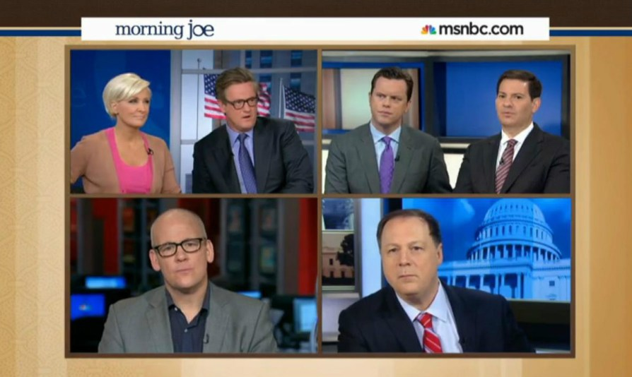 """We've discussed it amongst ourselves and decided that racism is over."" (Photo: Screen grab from 'Morning Joe' where they actually did this.)"