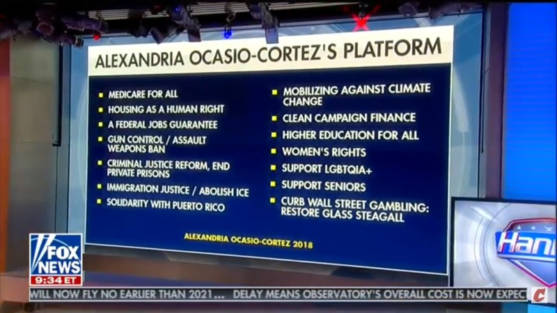 Hannity Presents Ocasio-Cortez's Platform Of 'Solidarity With Puerto Rico' In Negative Light