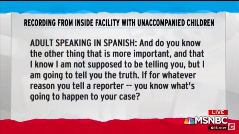 Maddow Obtains Audio Of Facility Worker Warning Migrant Children Not To Speak To Press