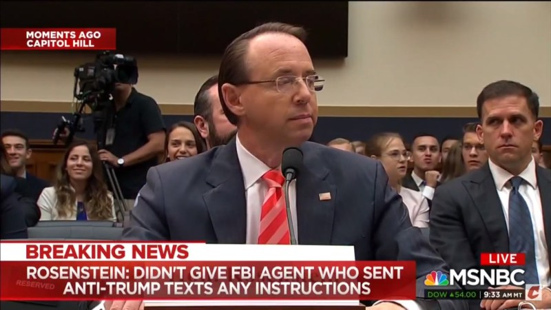 WATCH: Room Breaks Out In Laughter After Rod Rosenstein Corrects Jim Jordan On Subpoenaing Phone Calls
