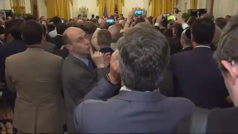 WATCH: Some Dude Shushes Jim Acosta As He Shouts 'Will You Stop Calling Press The Enemy' To Trump