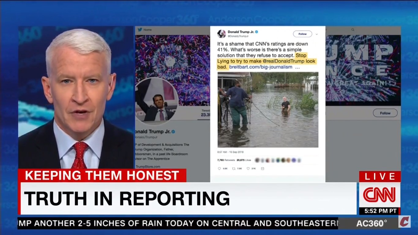 Anderson Cooper Fires Back At Don Jr For 'Tweeting Lies' About CNN's Hurricane Coverage