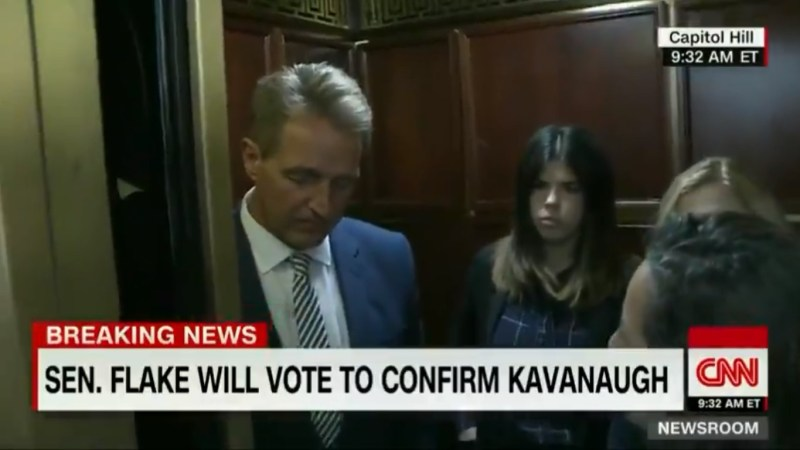 WATCH: Jeff Flake Confronted By Sexual Assault Survivors After Confirming He'll Vote For Kavanaugh