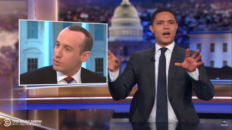 Watch: Trevor Noah Wonders If Stephen Miller's Hair Immigrated From His Head