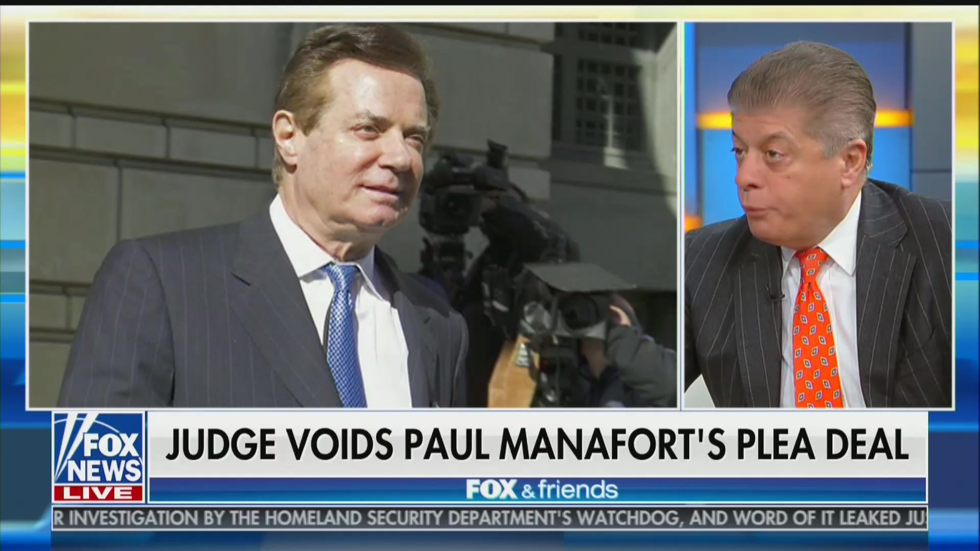 Fox's Judge Nap: Manafort a 'Candidate For a Pardon' Because He's Old and Facing 'So Much Jail Time'