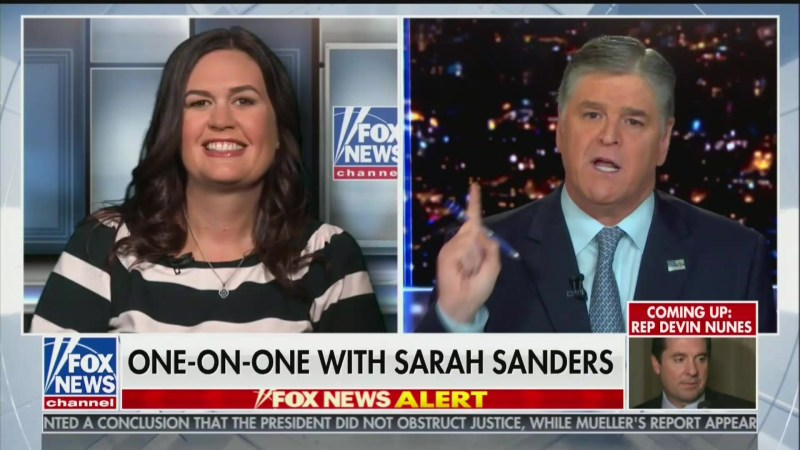 Watch Hannity Walk Sarah Sanders Through Her Excuse for Lying About James Comey