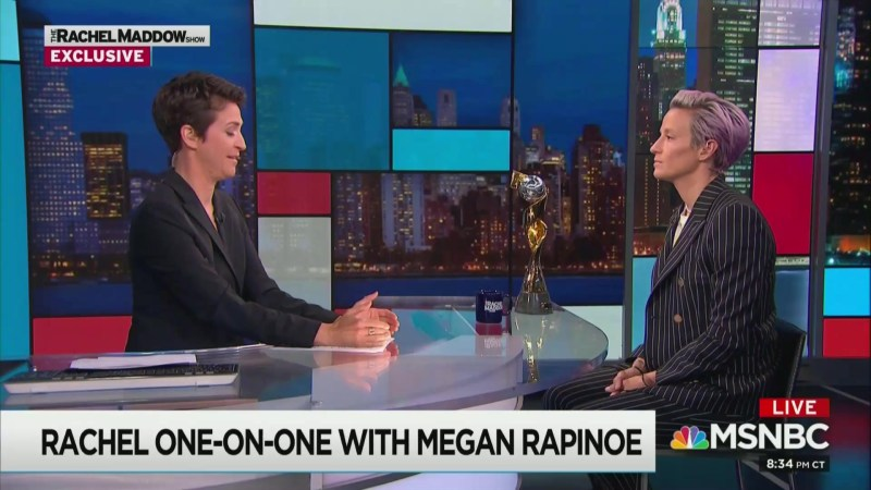 Maddow's Rapinoe Interview Finishes 2nd in Tuesday's Ratings, Hannity Takes Top Spot