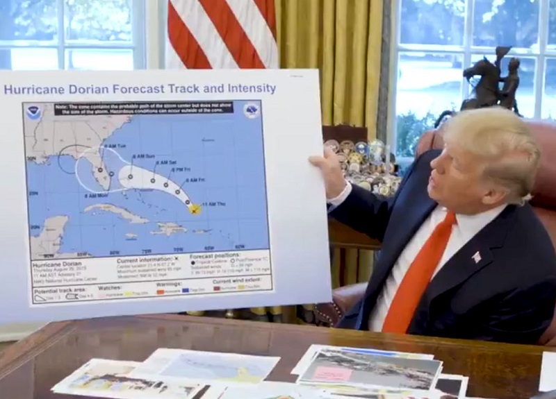 WH Alters Official Hurricane Forecast Map to Say President Was Correct Dorian Could Strike Alabama