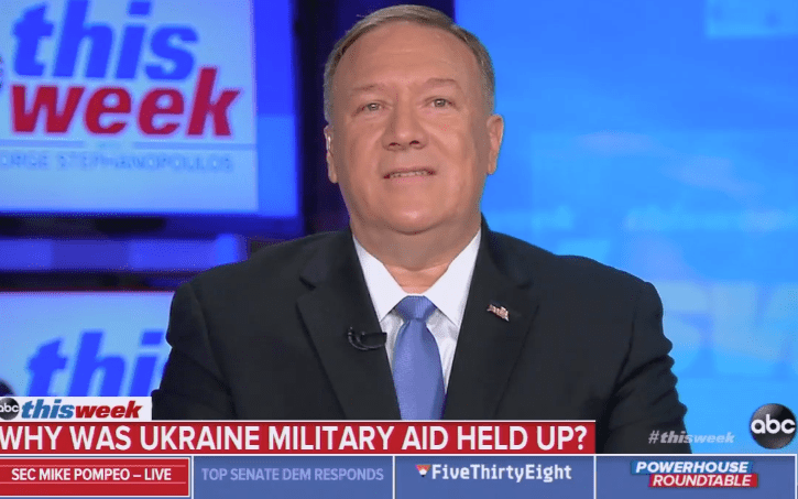 """Pompeo Claims He """"Never Saw"""" Ukraine Aid Linked to Political Investigations"""