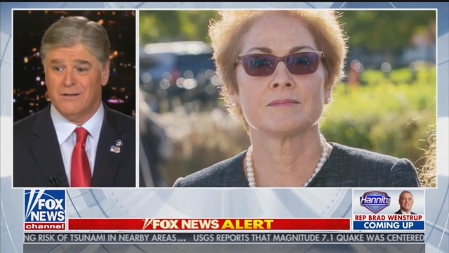 Hannity Accuses Marie Yovanovitch of Looking to Cry 'on Cue' at Impeachment Hearing