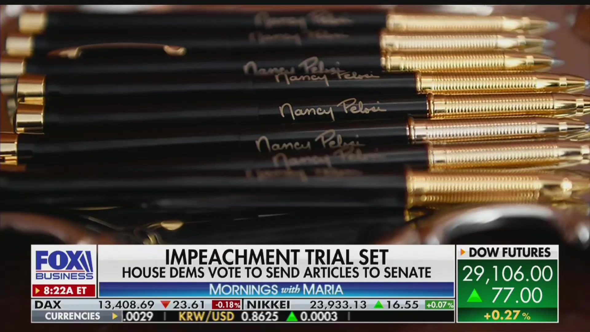 Fox's Maria Bartiromo Compares Pelosi's Impeachment Pens to 'Bullet Cases'