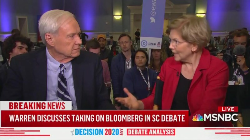 Chris Matthews Presses Elizabeth Warren: Why Do You Believe a Woman Over Bloomberg? 'Why Would He Lie?'