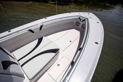 Bow of st JL Speakers Contender Boats ST  interior