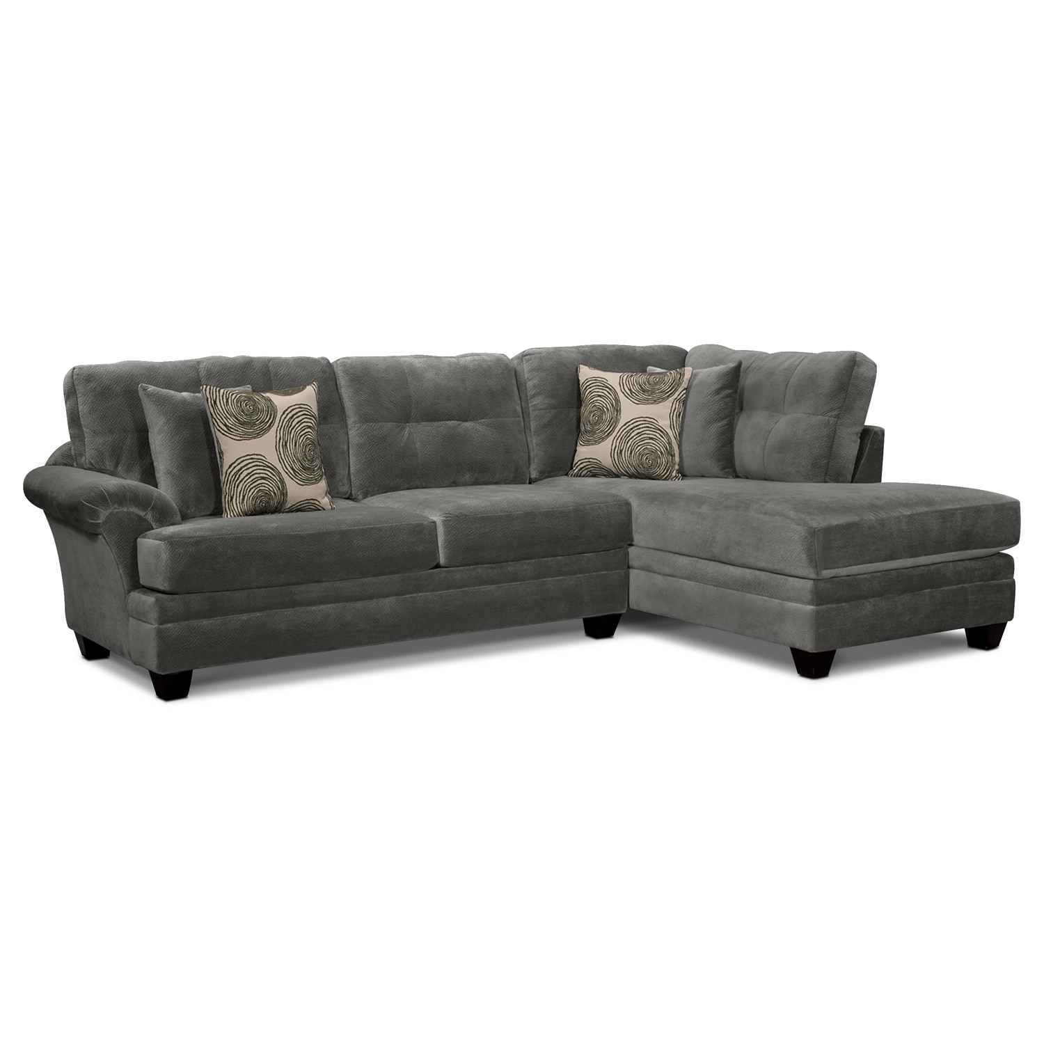 back of sofa facing fireplace mainstays baja futon sleeper bed instructions cordelle 2 piece sectional with right chaise gray