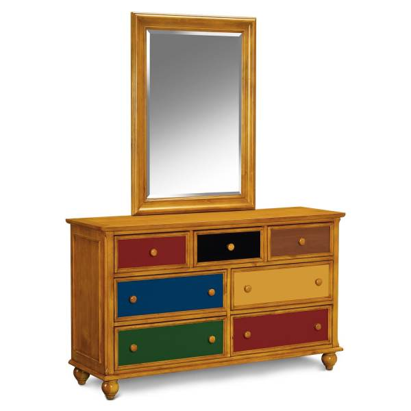 Colorworks Dresser And Mirror - Honey Pine American