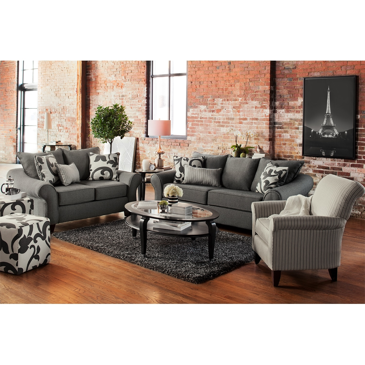 Grey Living Room Chairs Colette Sofa Loveseat And Accent Chair Set Gray