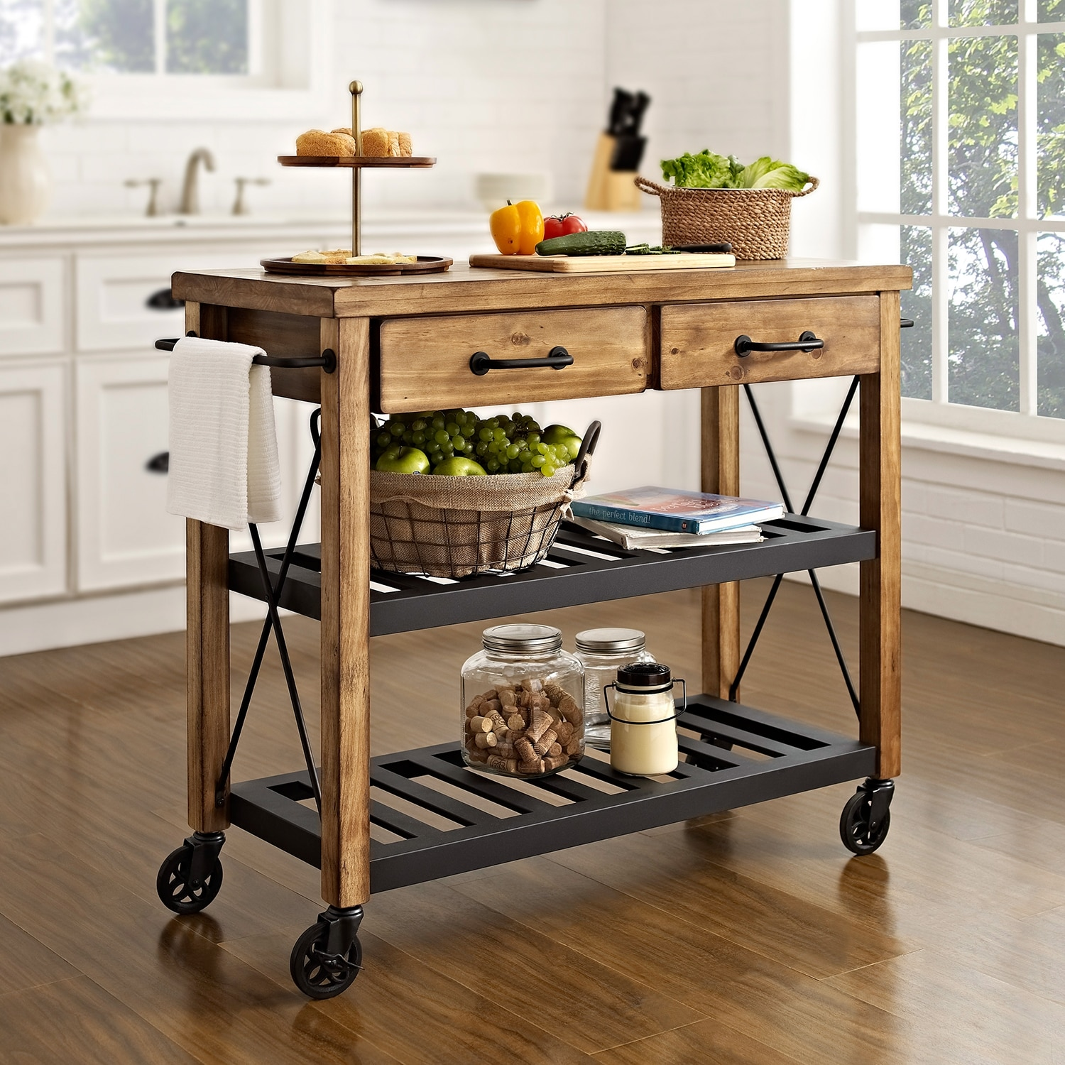 kitchen cart table cherry wood cabinets photos fremont natural american signature furniture click to change image