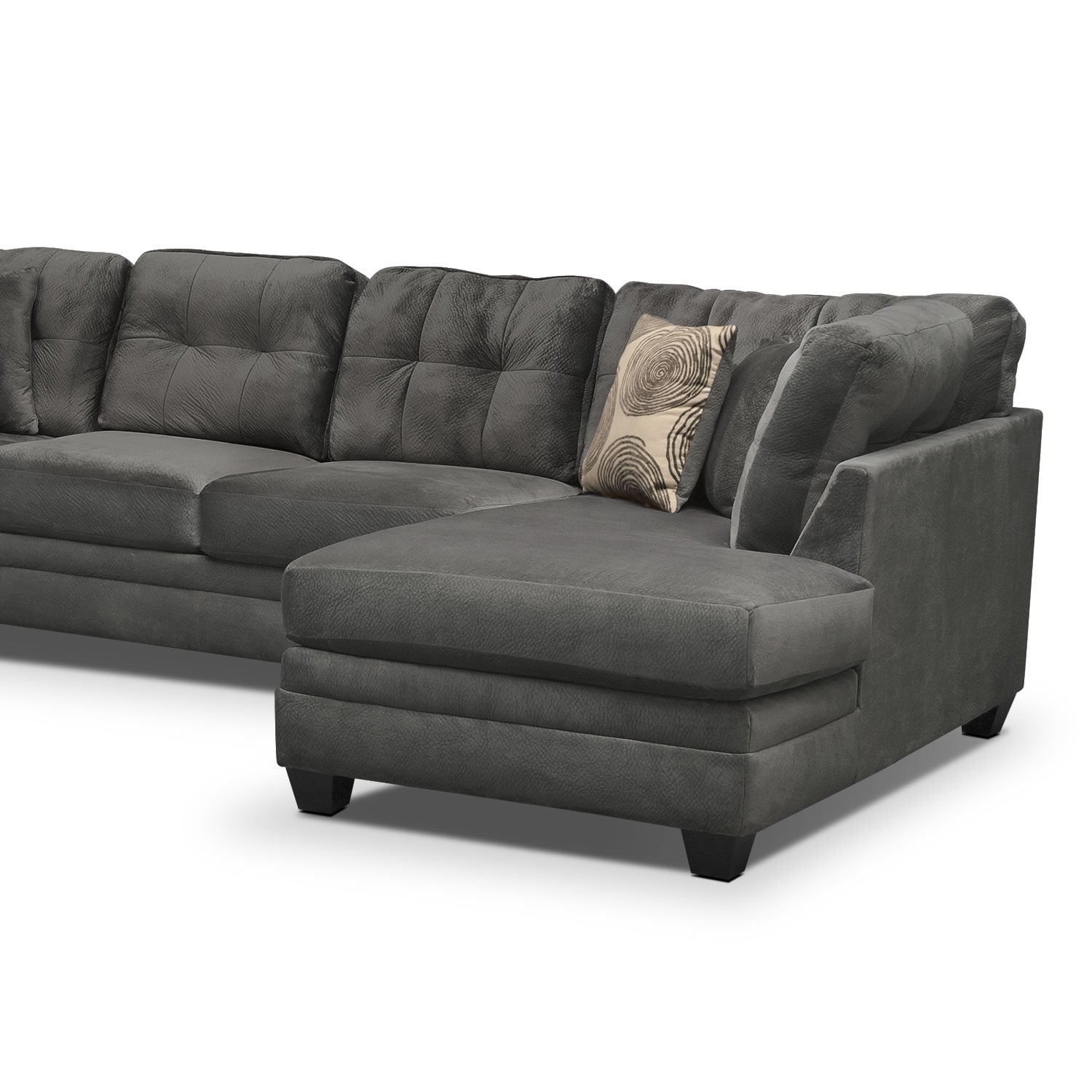 back of sofa facing fireplace dark maroon leather cordelle 3 piece sectional with right chaise gray