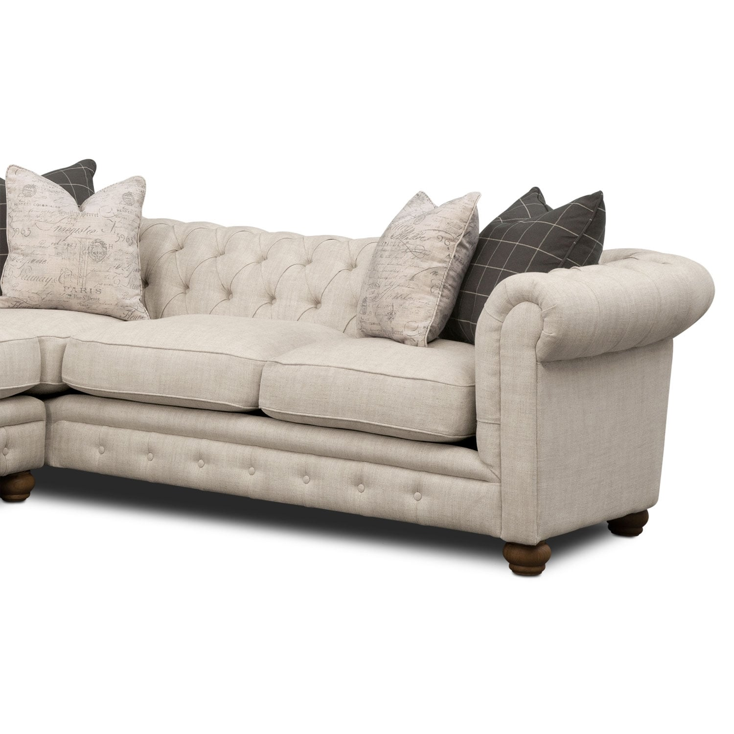 where to donate sectional sofa barker and stonehouse warranty madeline 2 piece beige american signature
