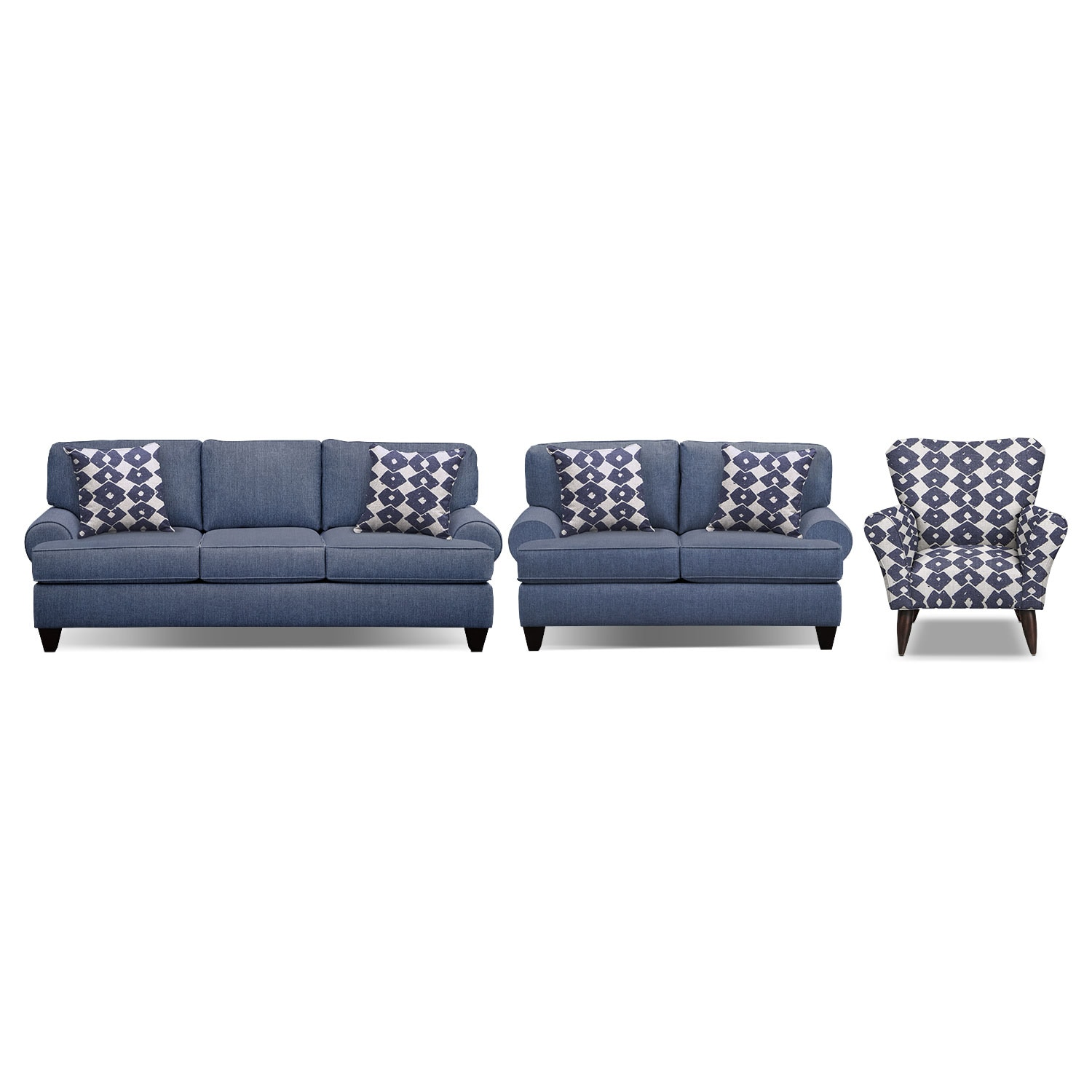 accent sofa calligaris bailey blue 91 sleeper 67 and chair set by kroehler