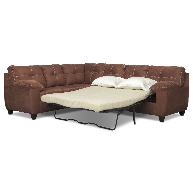 back of sofa facing fireplace butler ricardo 2 piece memory foam sleeper sectional with left