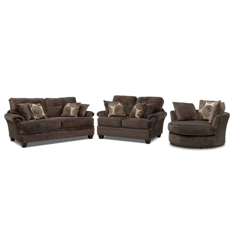 swivel chair sofa set and 1 2 slipcover cordelle loveseat chocolate