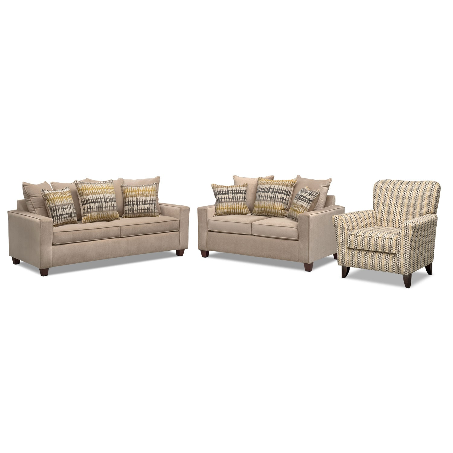 living room sofa and loveseat sets design ideas grey bryden accent chair set american signature furniture