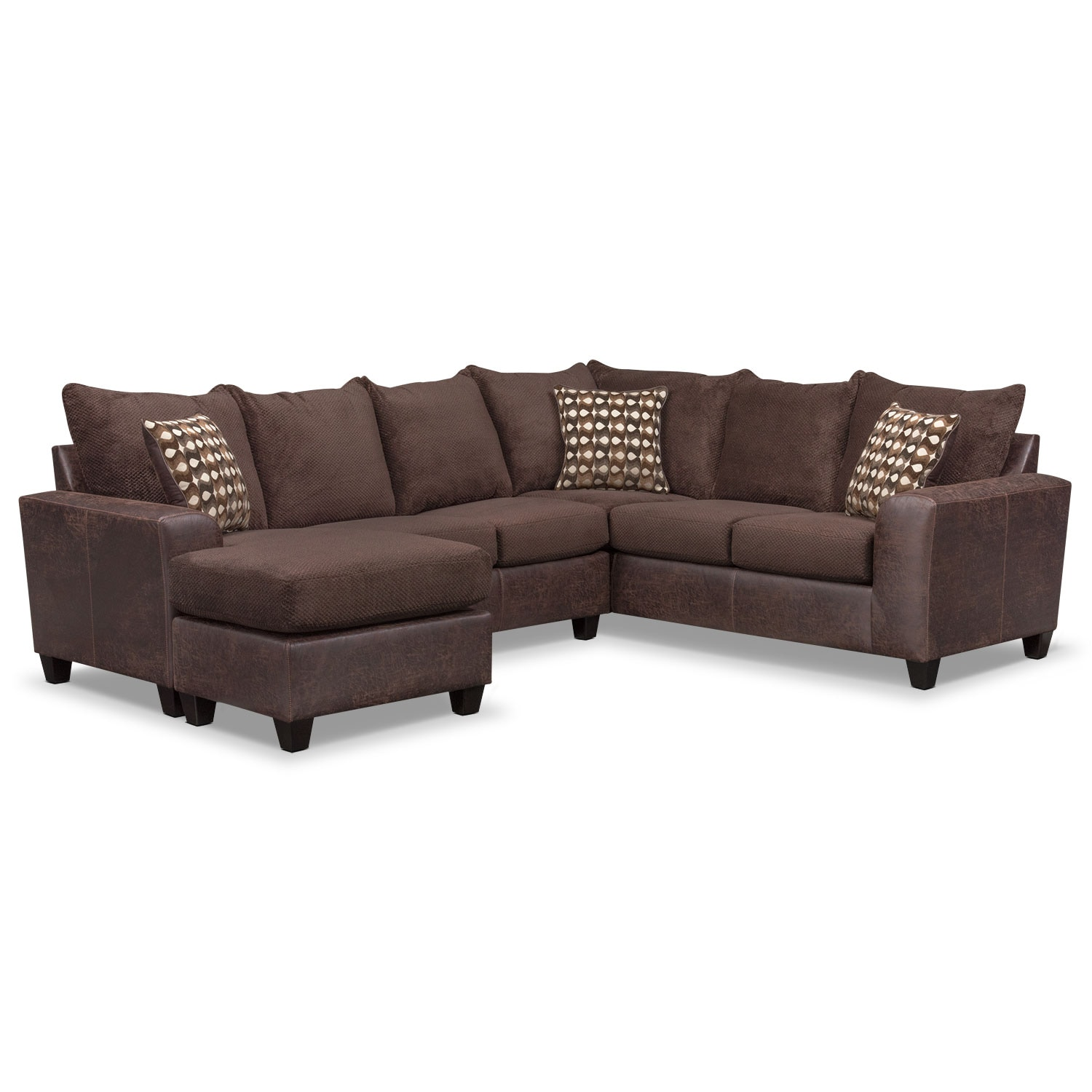 where to donate sectional sofa best cleaning singapore brando 3 piece with chaise and swivel chair set