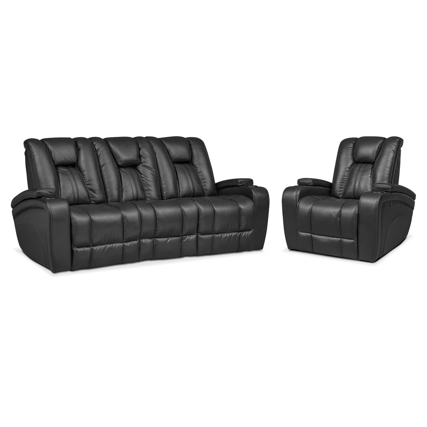 Power Reclining Chairs Pulsar Dual Power Reclining Sofa And Recliner Set Black