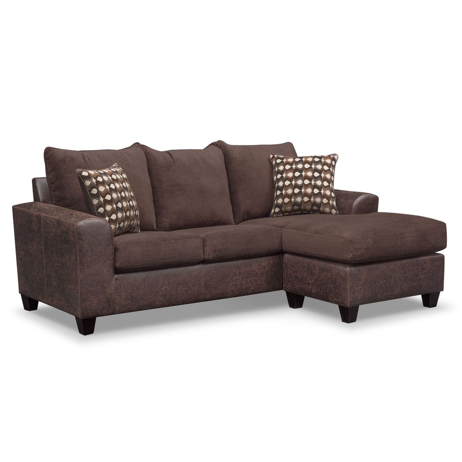 swivel chair sofa set home theater chairs brando with chaise and chocolate