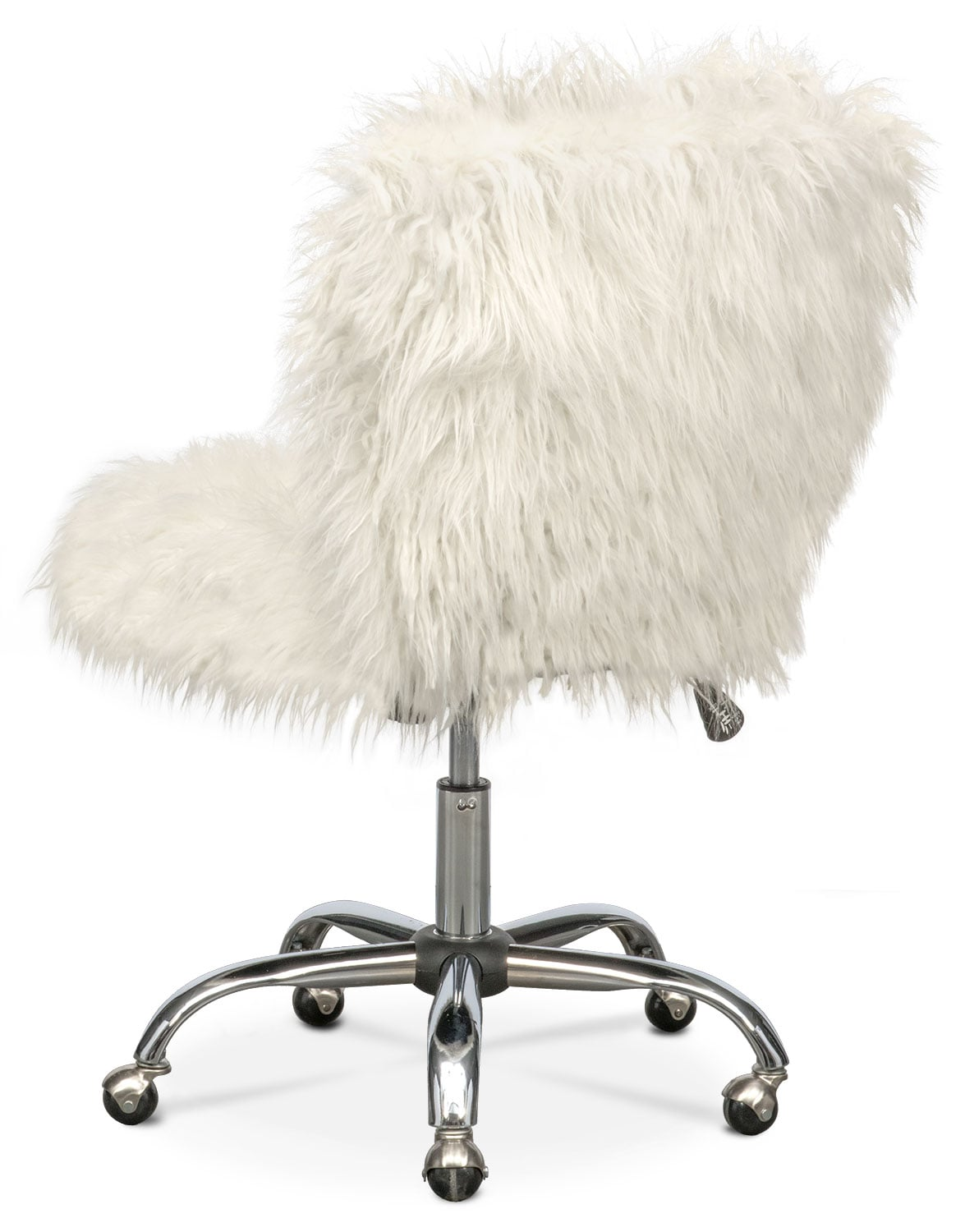 fuzzy desk chair cowhide leather and ottoman frenzy office white american signature furniture