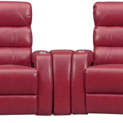 Home Theater Chair Repair Wheelchair Guy Scary Movie Bravo 3 Piece Power Reclining Sectional Red
