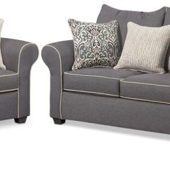 Couch And Chair Set Rocking Ottoman Cushions Carla Sofa Loveseat Gray American Signature
