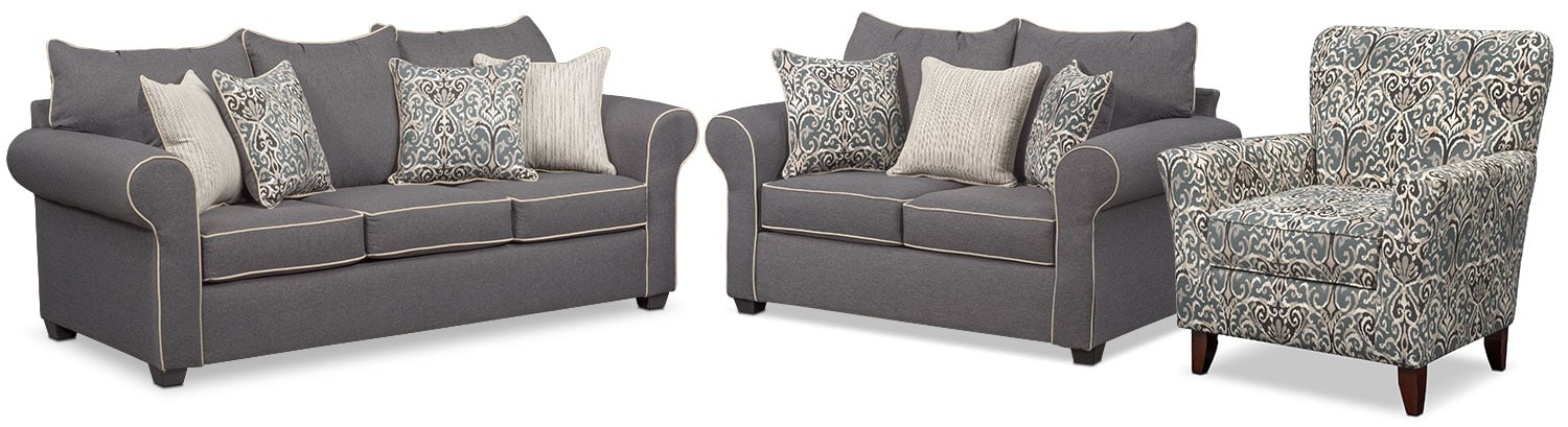 accent chair gray outdoor fire pit and chairs carla sofa loveseat set american