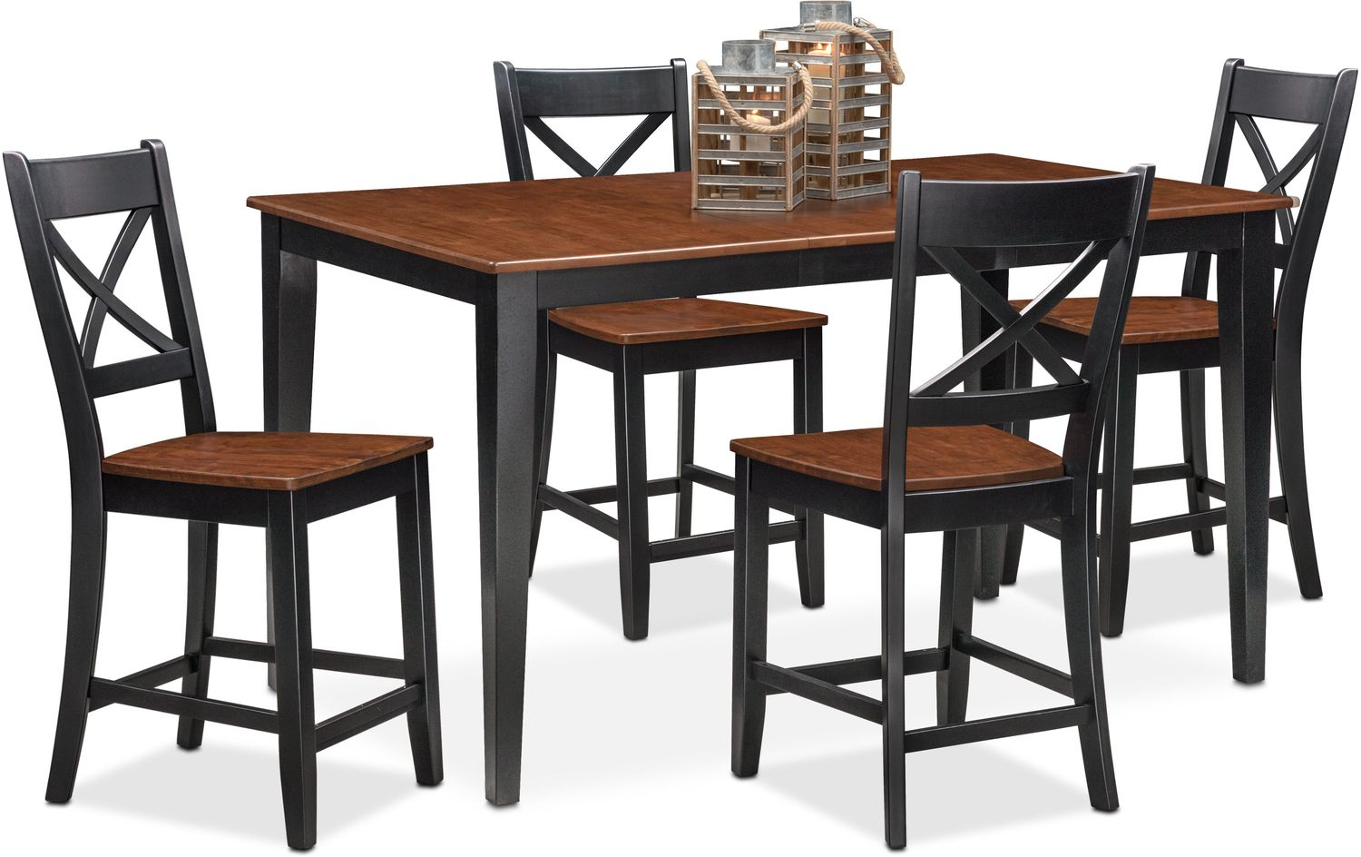 Counter Height Dining Room Chairs Nantucket Counter Height Table And 4 Side Chairs Black