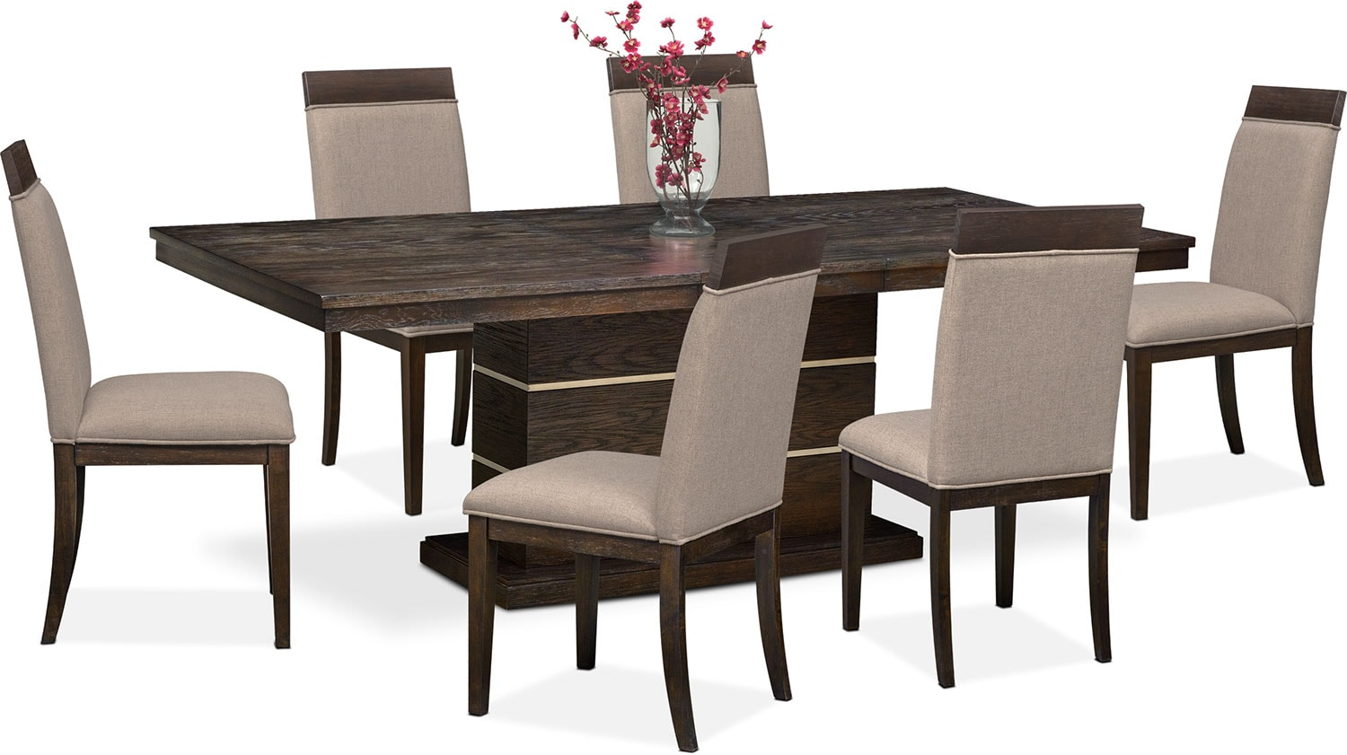 pedestal table and chairs upholstered chair with nailhead trim gavin 6 side brownstone
