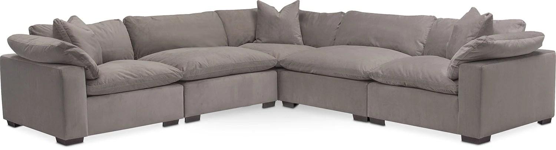 sectional sofa value city furniture crate and barrel microfiber plush 5-piece - abbington fog | american ...
