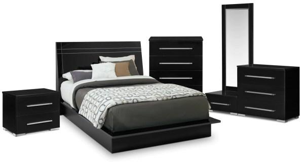 black queen panel bedroom set Dimora 7-Piece Queen Panel Bedroom Set - Black   American Signature Furniture