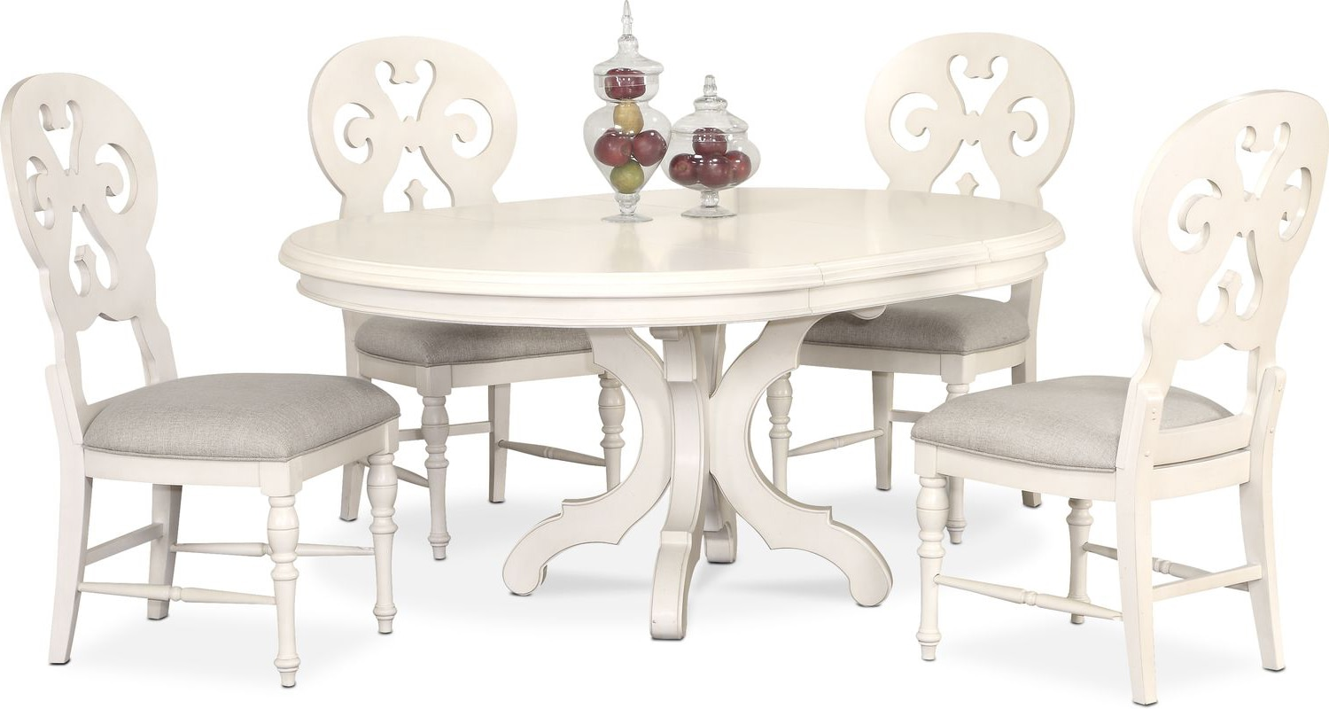 White Dining Room Chair Charleston Round Dining Table And 4 Scroll Back Side Chairs