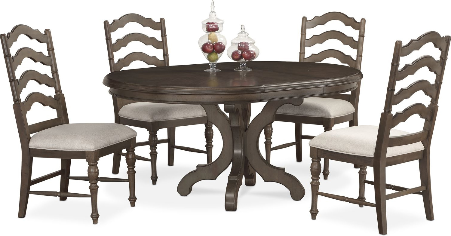 Round Dining Table And Chairs Charleston Round Dining Table And 4 Side Chairs Gray