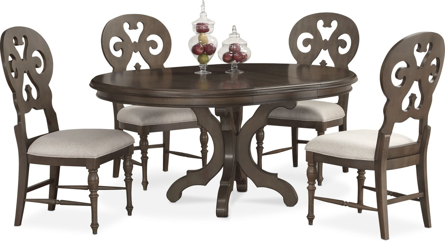 Round Dining Table And Chairs Charleston Round Dining Table And 4 Scroll Back Side