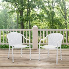 White Outside Chairs Chair Cover Hire Townsville Aldo Set Of 2 Stackable Outdoor Arm