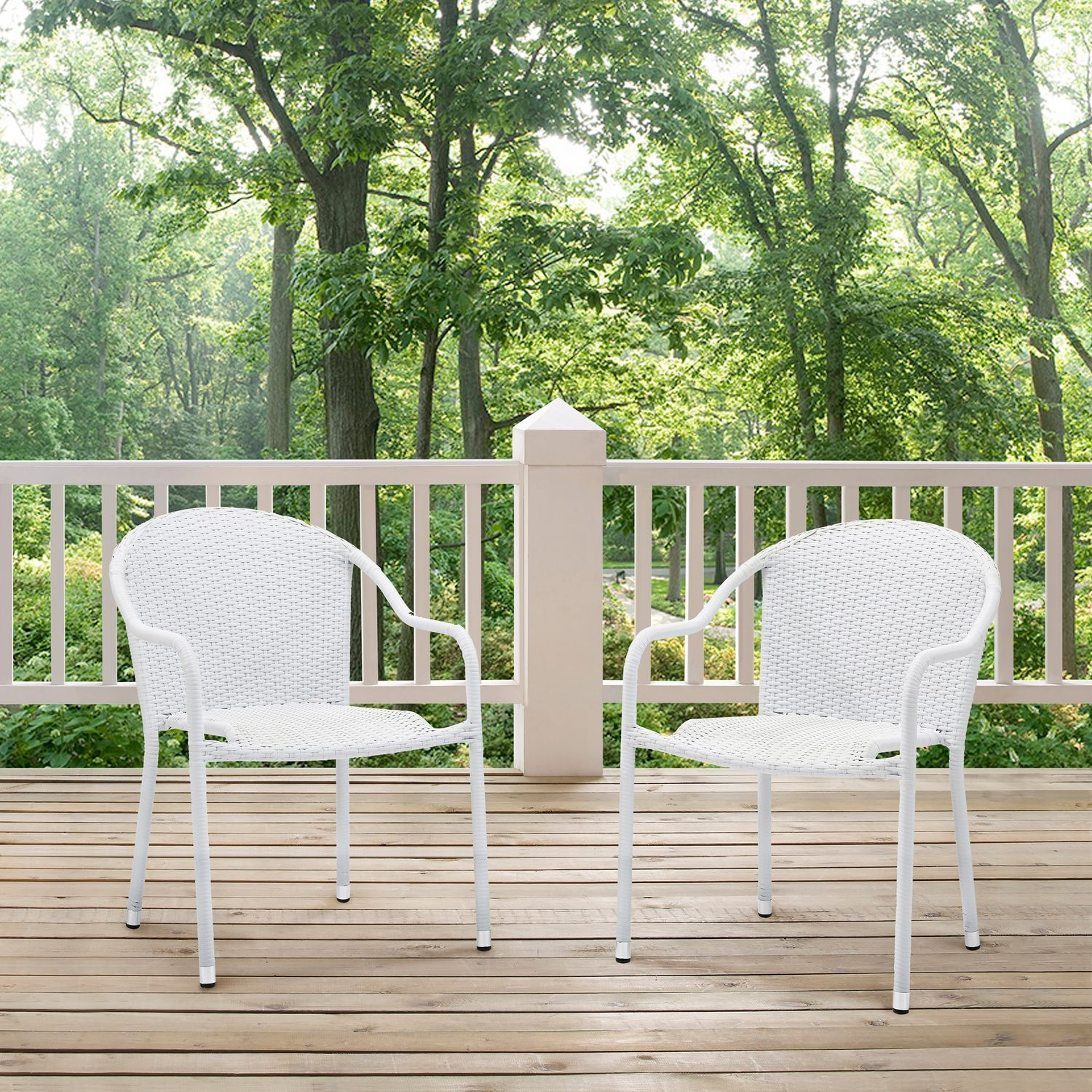 Outdoor Stackable Chairs Aldo Set Of 2 Stackable Outdoor Arm Chairs White