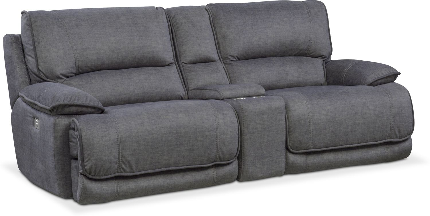 black reclining sofa with console gumtree uk leather bed mario 3 piece power american signature
