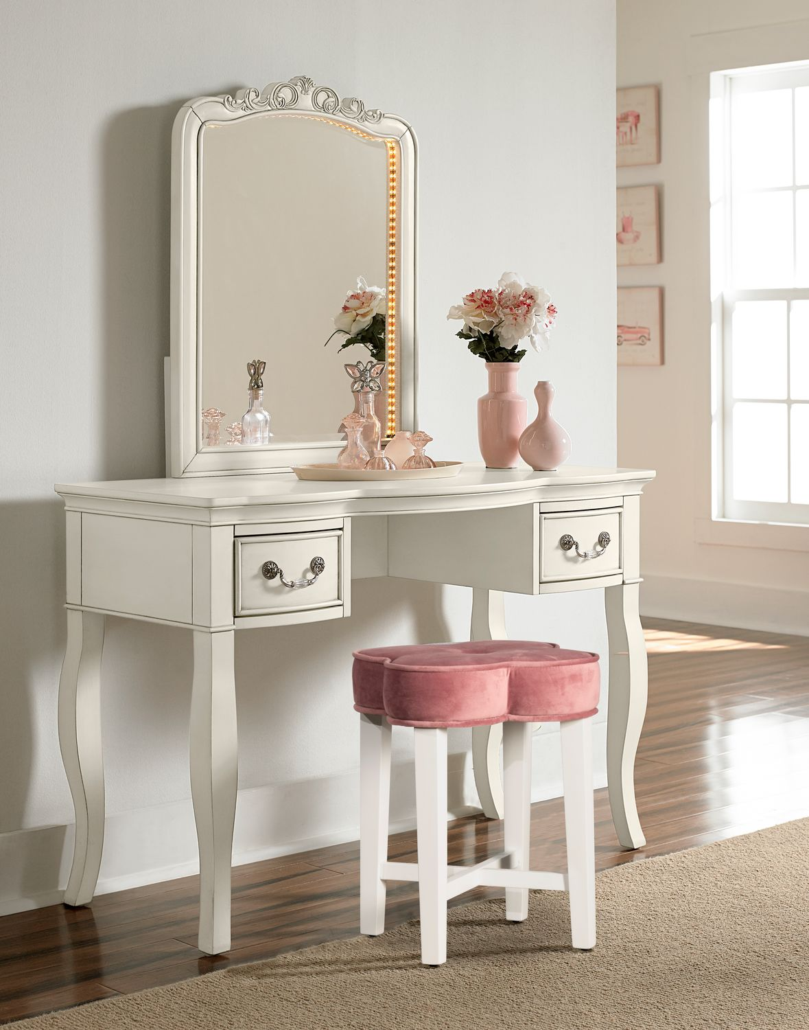 pink vanity chair luxury desk chairs quad stool american signature furniture