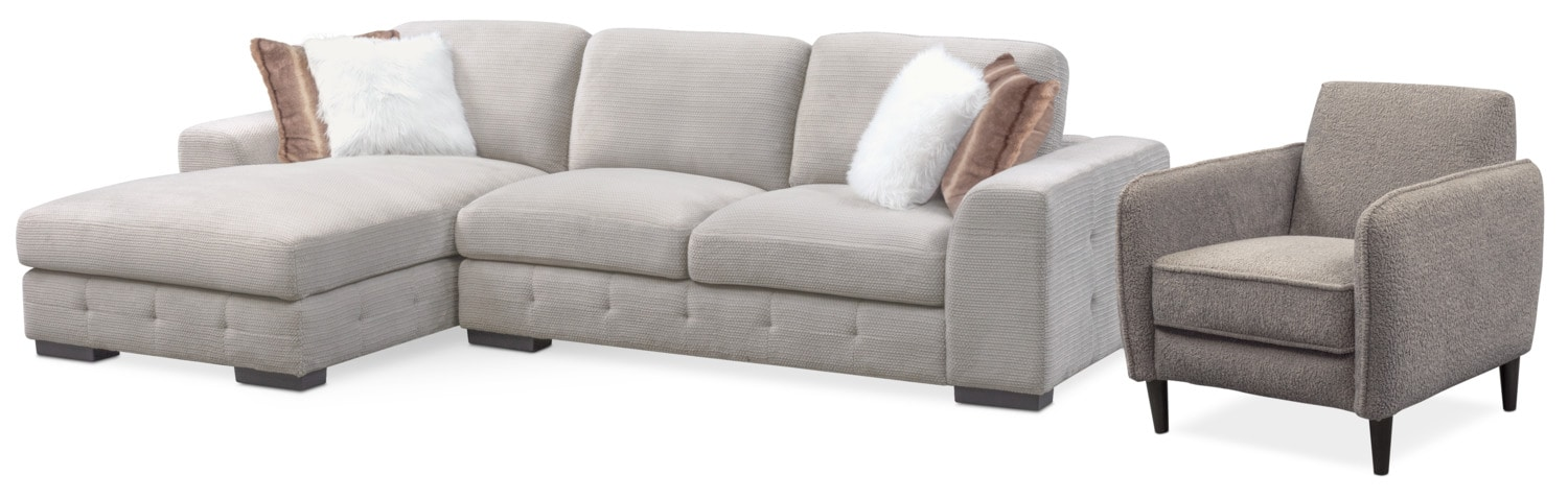 futon and chair set denim covers terry 2 piece sectional with chaise accent american